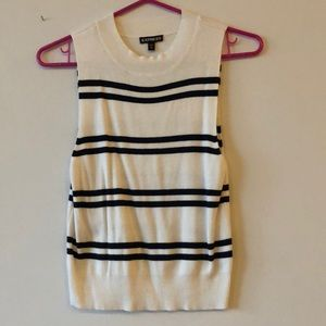 Express black and white striped crop top